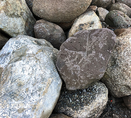 Large round boulders.