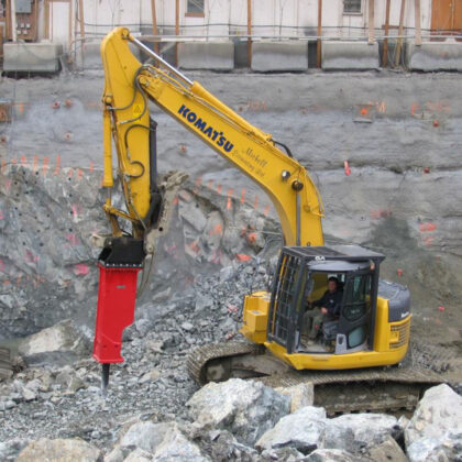 A machine in action at a construction site.