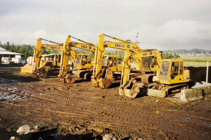 An older colour photo of excavation equipment.